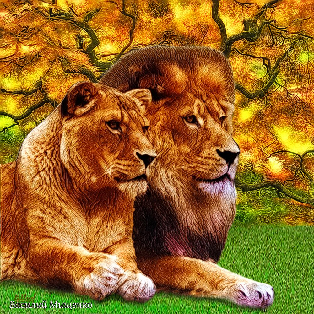 Vasiliy Mishchenko. Lions after the hunt