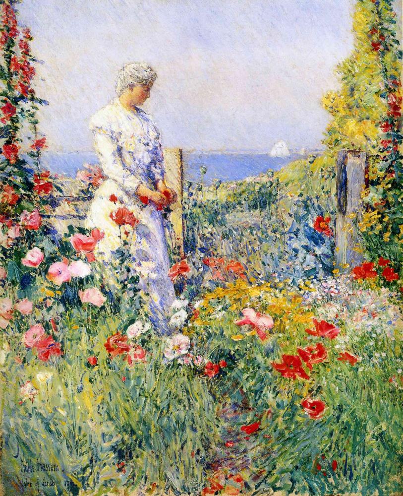 Чайльд Гассам. В саду (Селия Такстер в своем саду)