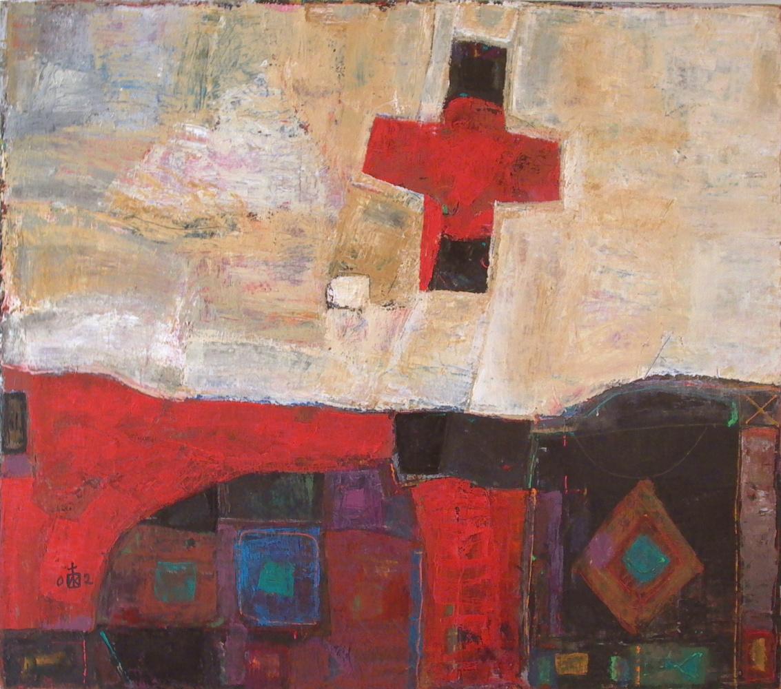 "Igor Vasilyevich Kislitsyn. ""The origin of the cross 2"", 2002, oil on canvas, 150 x 170"