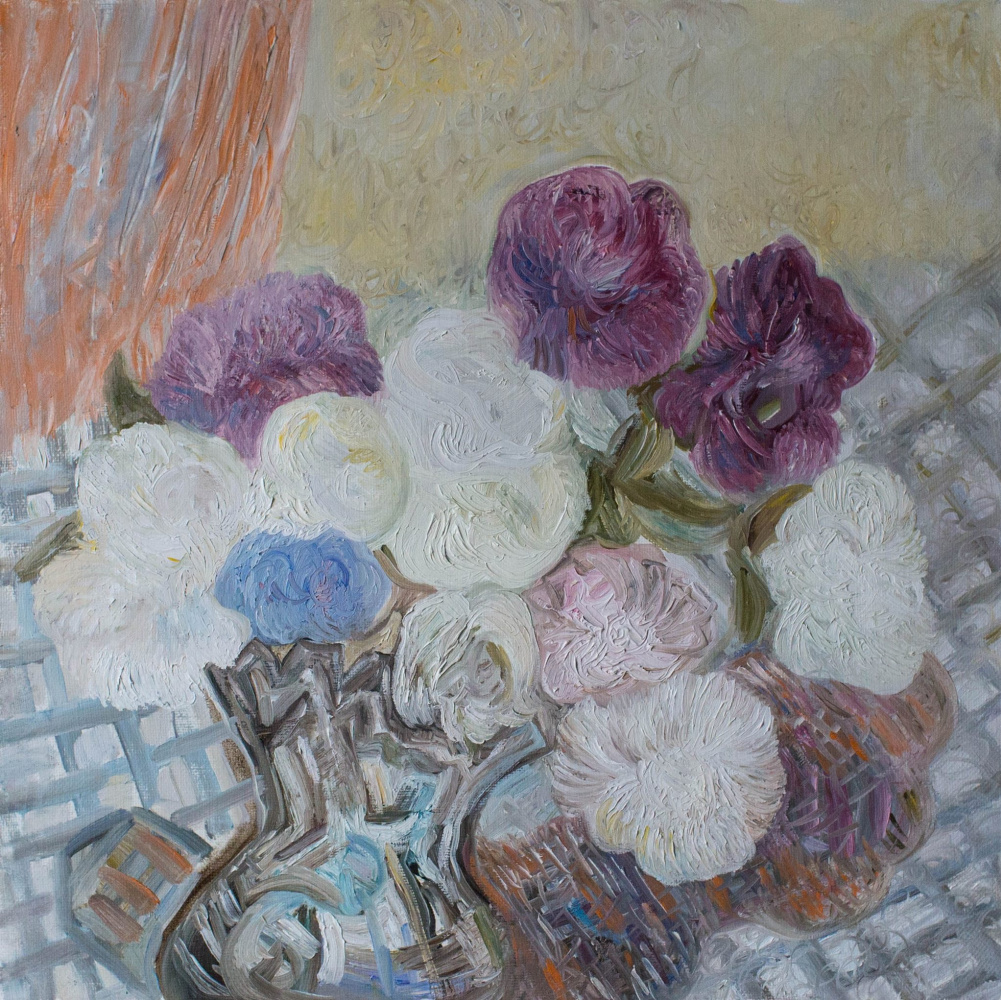 Agnessa Morkovina. Asters in a Crystal Vase