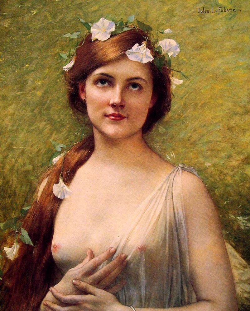 Жюль Жозеф Лефевр. Молодая женщина с вьюном в волосах.
