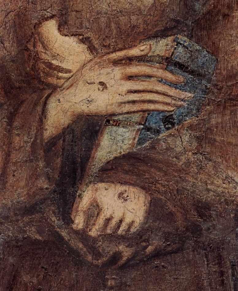 Ченни ди Пепо Чимабуэ. Фрески нижней церкви Сан Франческо в Ассизи, правый неф, сцена: Мадонна на троне, четыре ангела и св. Франциск, деталь
