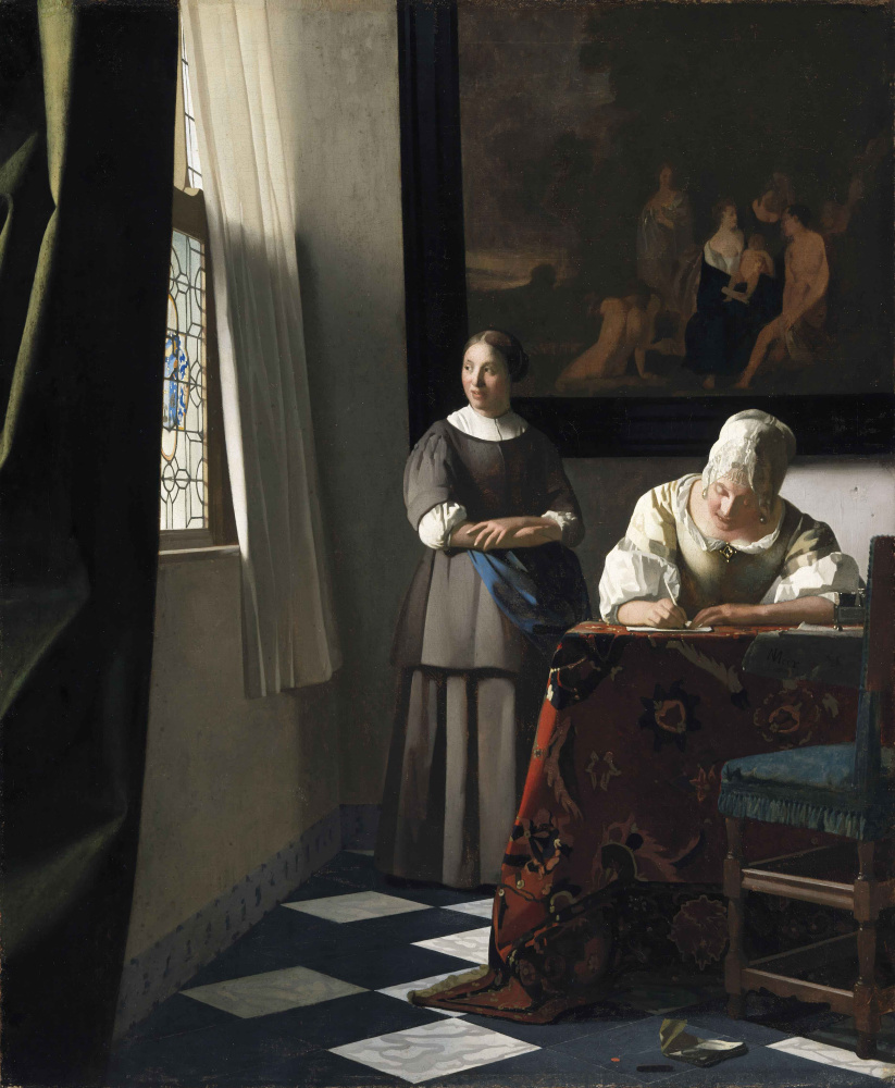 Jan Vermeer. Lady writing a letter her maid