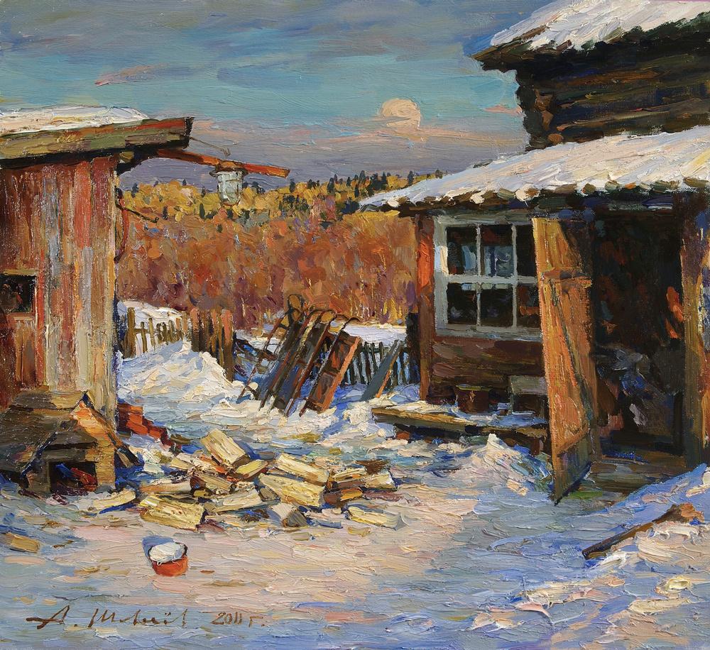 Alexander Victorovich Shevelyov. Patio.Oil on canvas 40,5 # 43,8 cm 2011