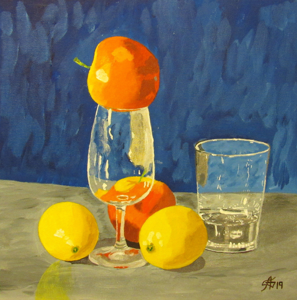 Artashes Badalyan. Still Life with Apples and Lemons - Card. M - 30x30