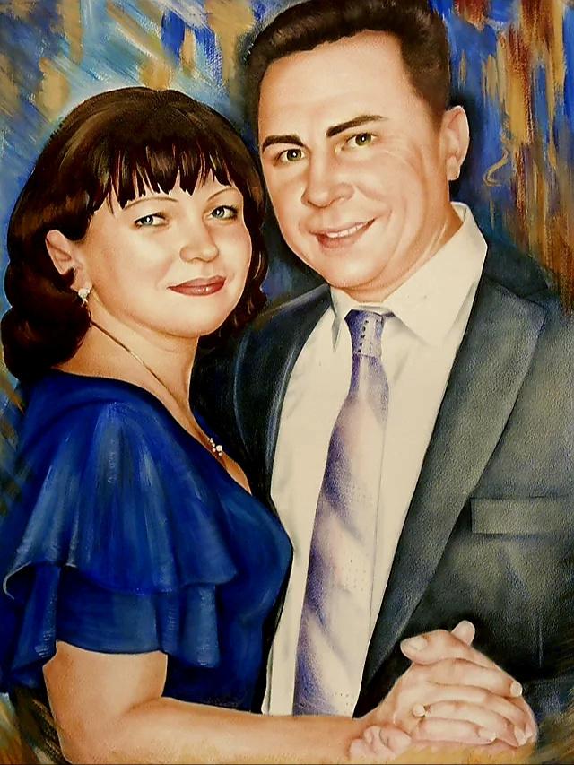 Хельга Эдуардовна Григорьева. Pair portrait. Dry brush, 60/80