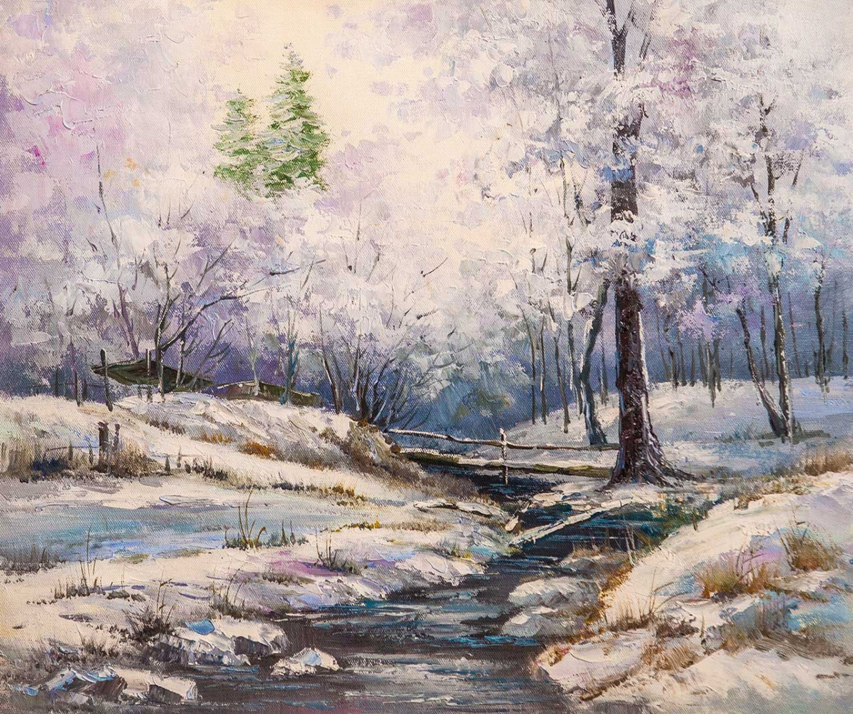 Andrey Sharabarin. Stream in the winter forest