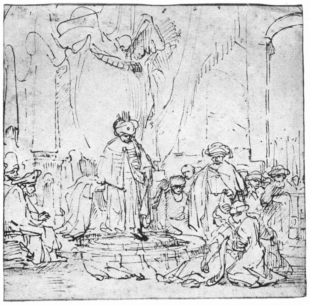 Рембрандт Ван Рейн. Есфирь падает в обморок перед царем