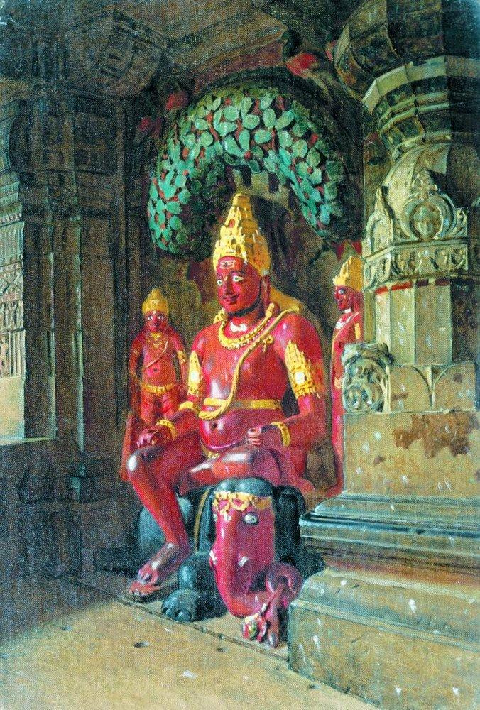 Василий Васильевич Верещагин. Статуя Вишну в храме Индры в Эллоре