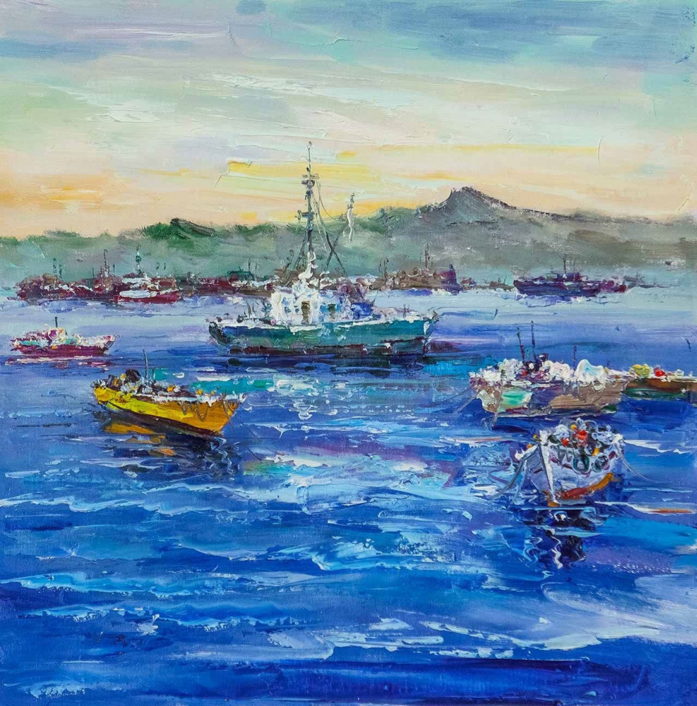 (no name). Fishing schooners on the background of the mountains N2