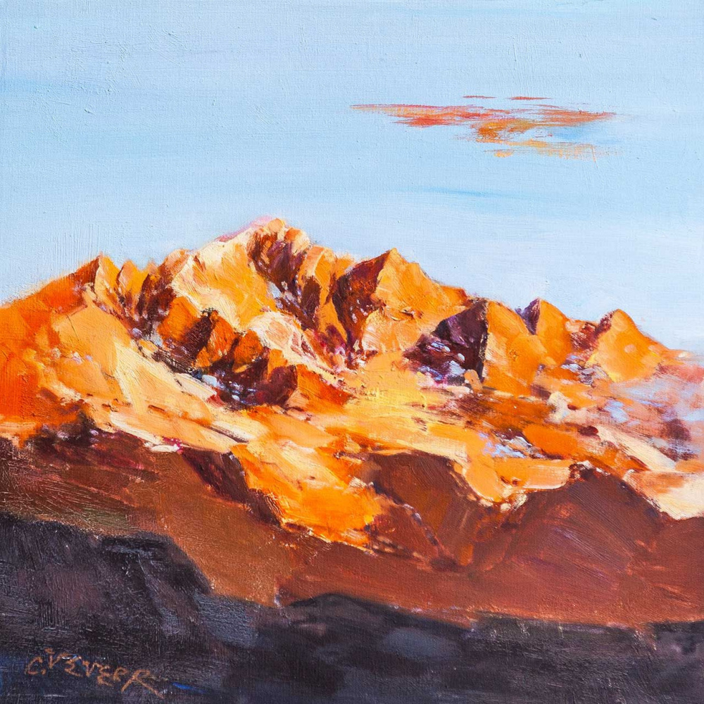 (no name). Mountain landscape. Dawn