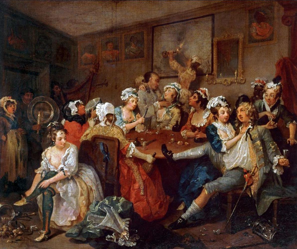 William Hogarth. Mota's career. The scene in the pub