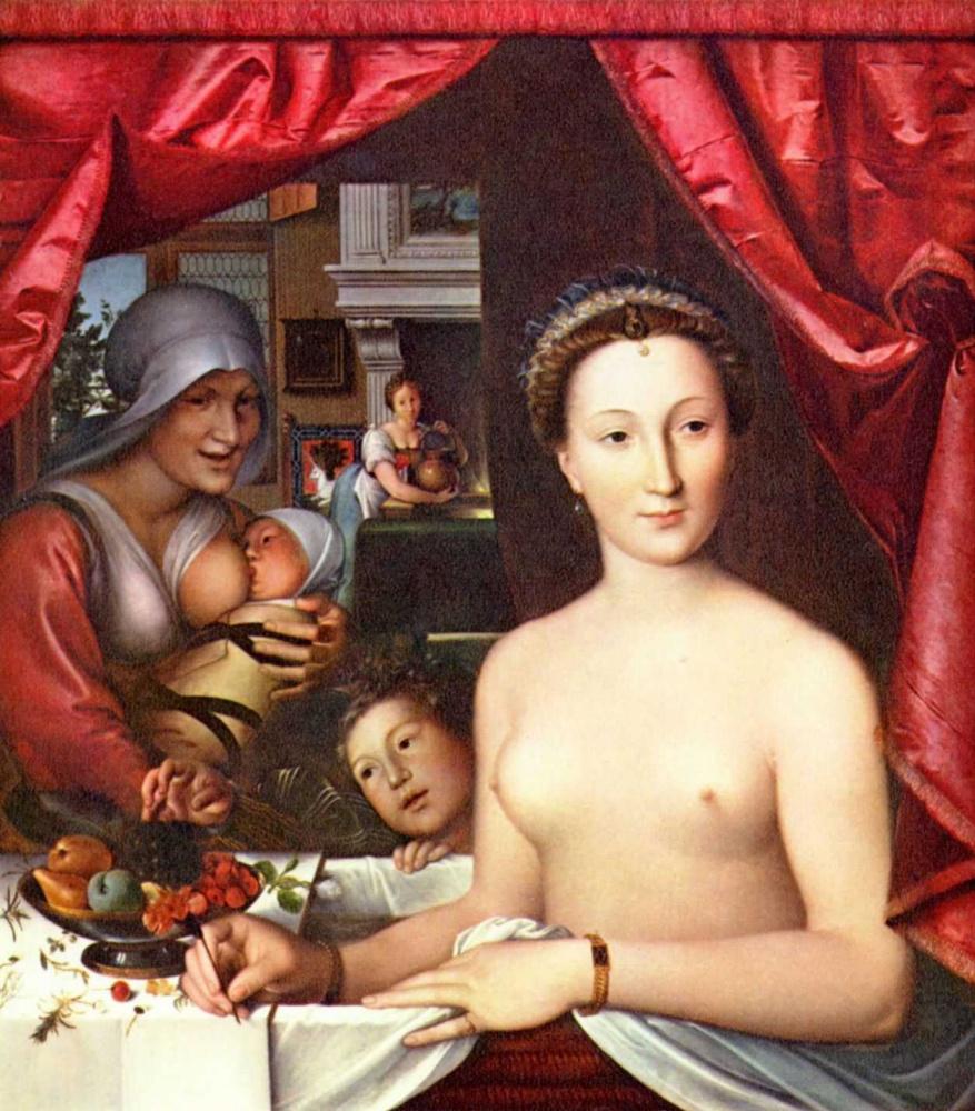 Франсуа Клуэ. Туалет дамы. Портрет Дианы де Пуатье