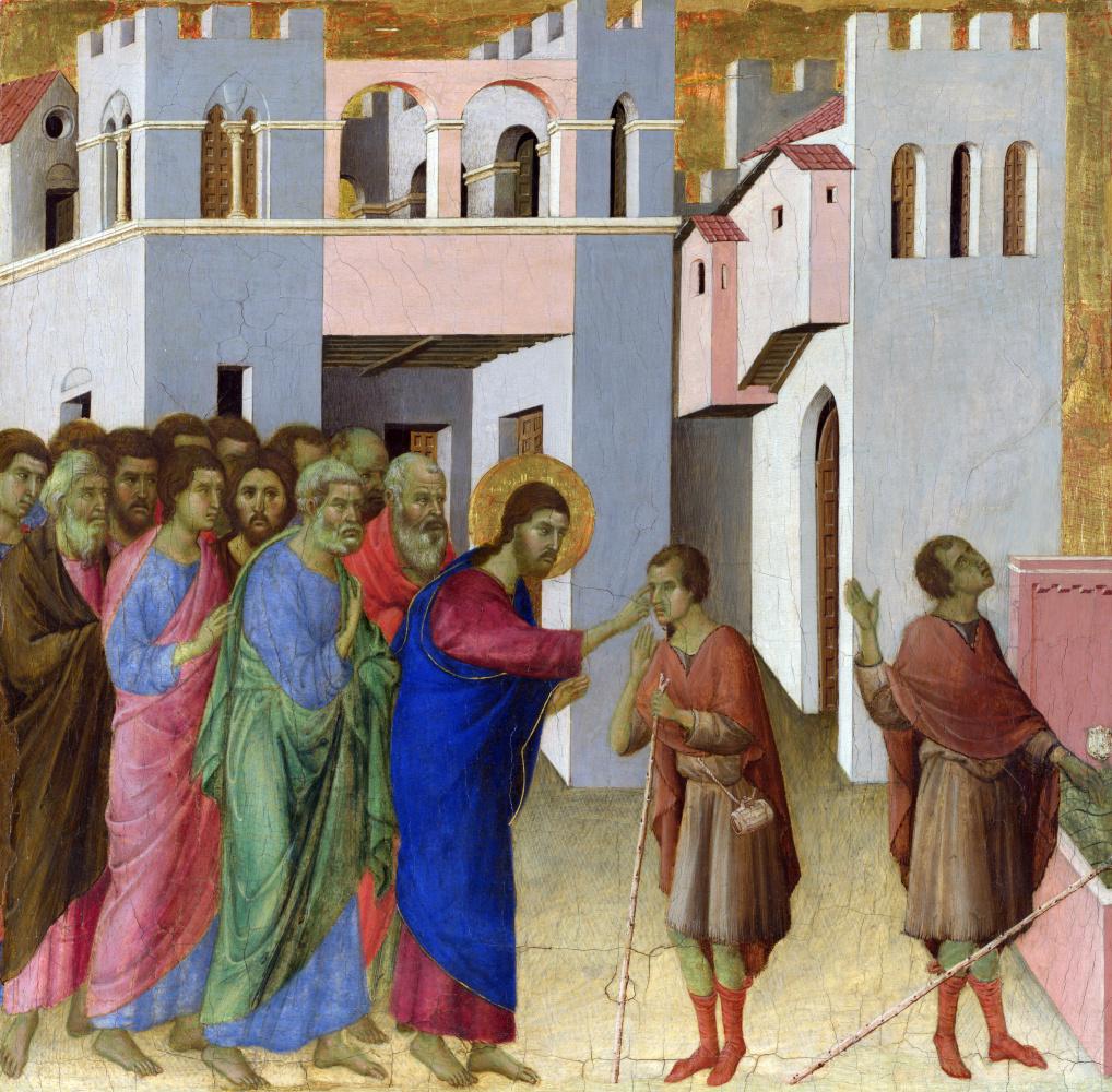 Дуччо ди Буонинсенья. Иисус открывает глаза слепорожденному