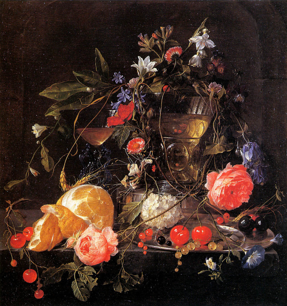Jan Davids de Hem. Floral still life with fruit