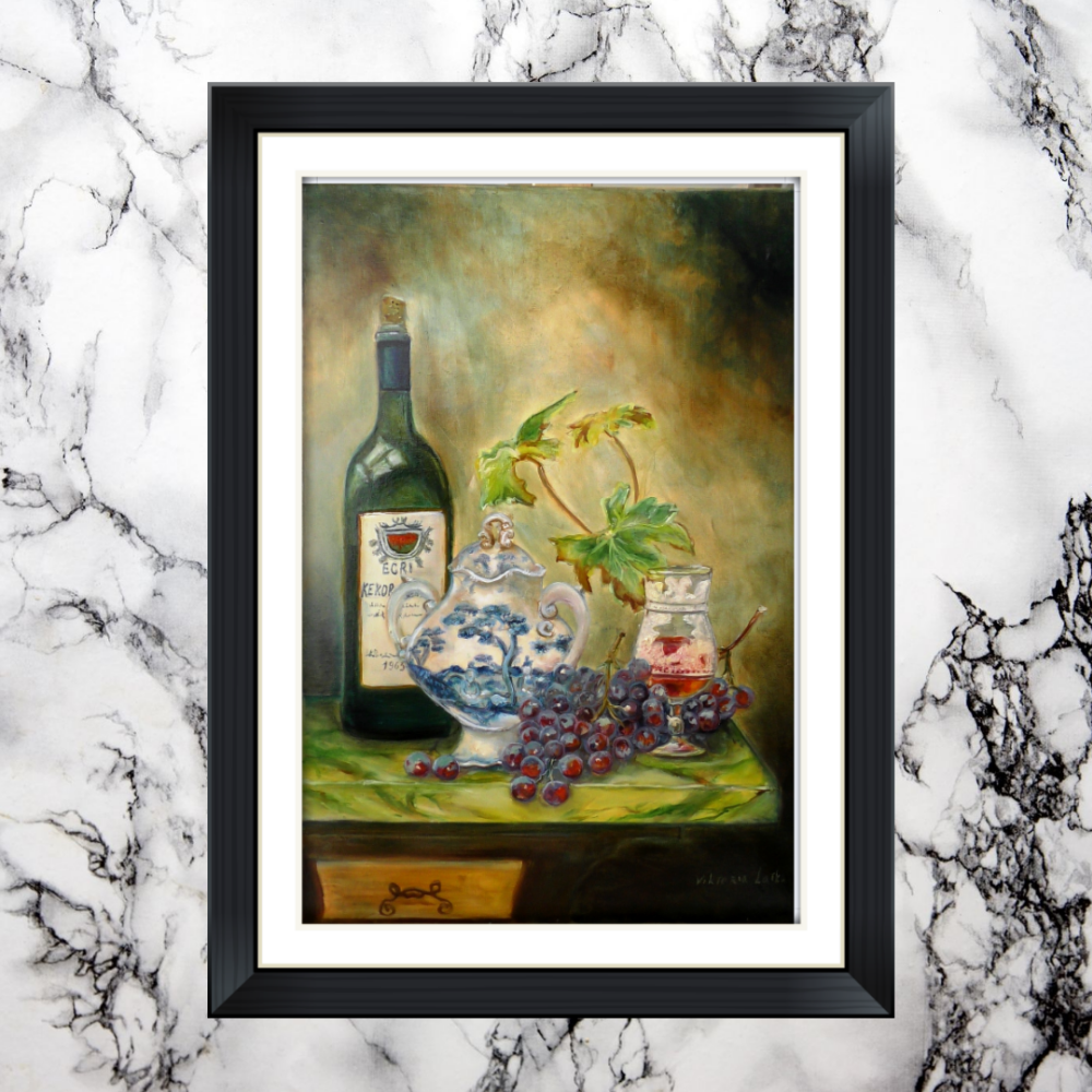 Victoria Latka. Still life with wine and grapes