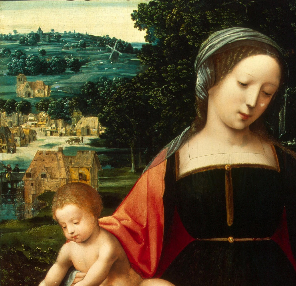 Неизвестный  художник. Нидерландская школа. 1530-1540 Мадонна с Младенцем.  деталь