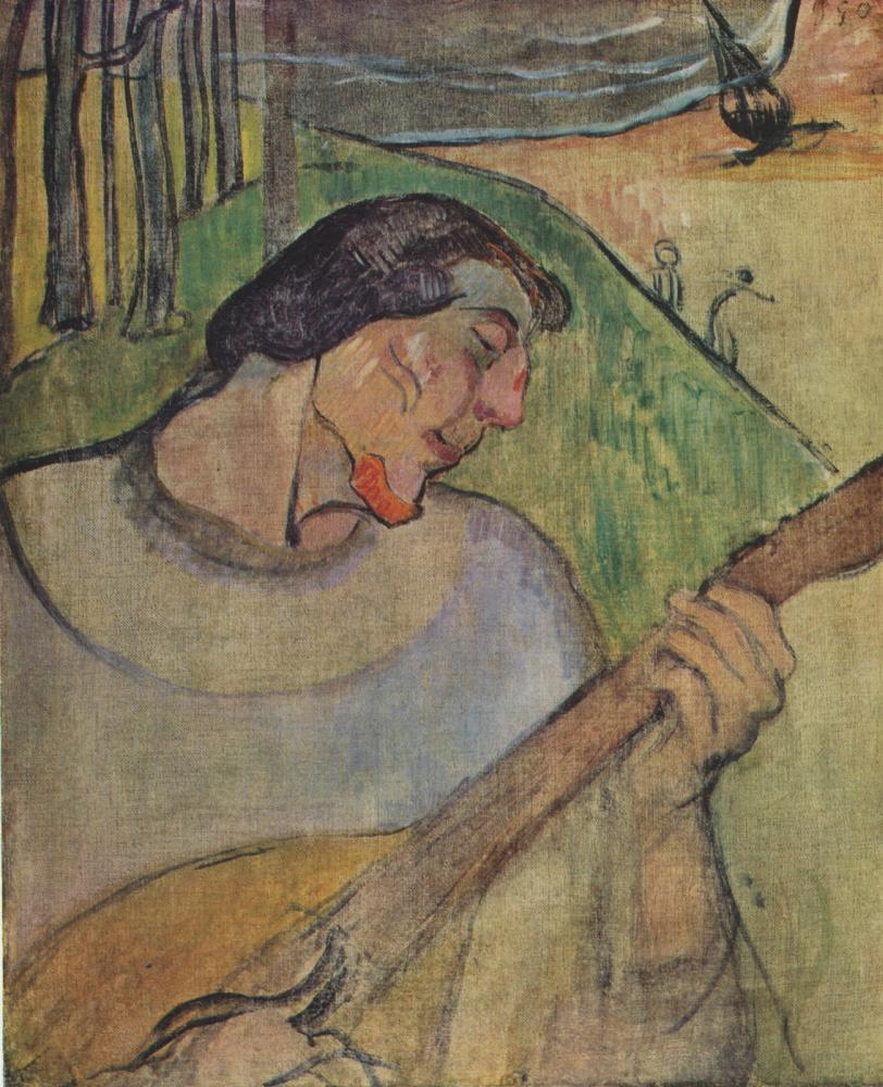 Поль Гоген. Автопортрет с мандолиной