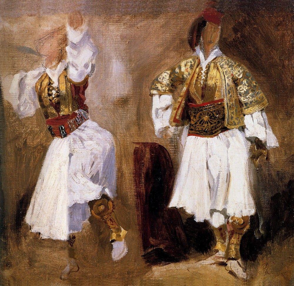 Eugene Delacroix. Sketch of dancing figures in the costumes of Slyotov