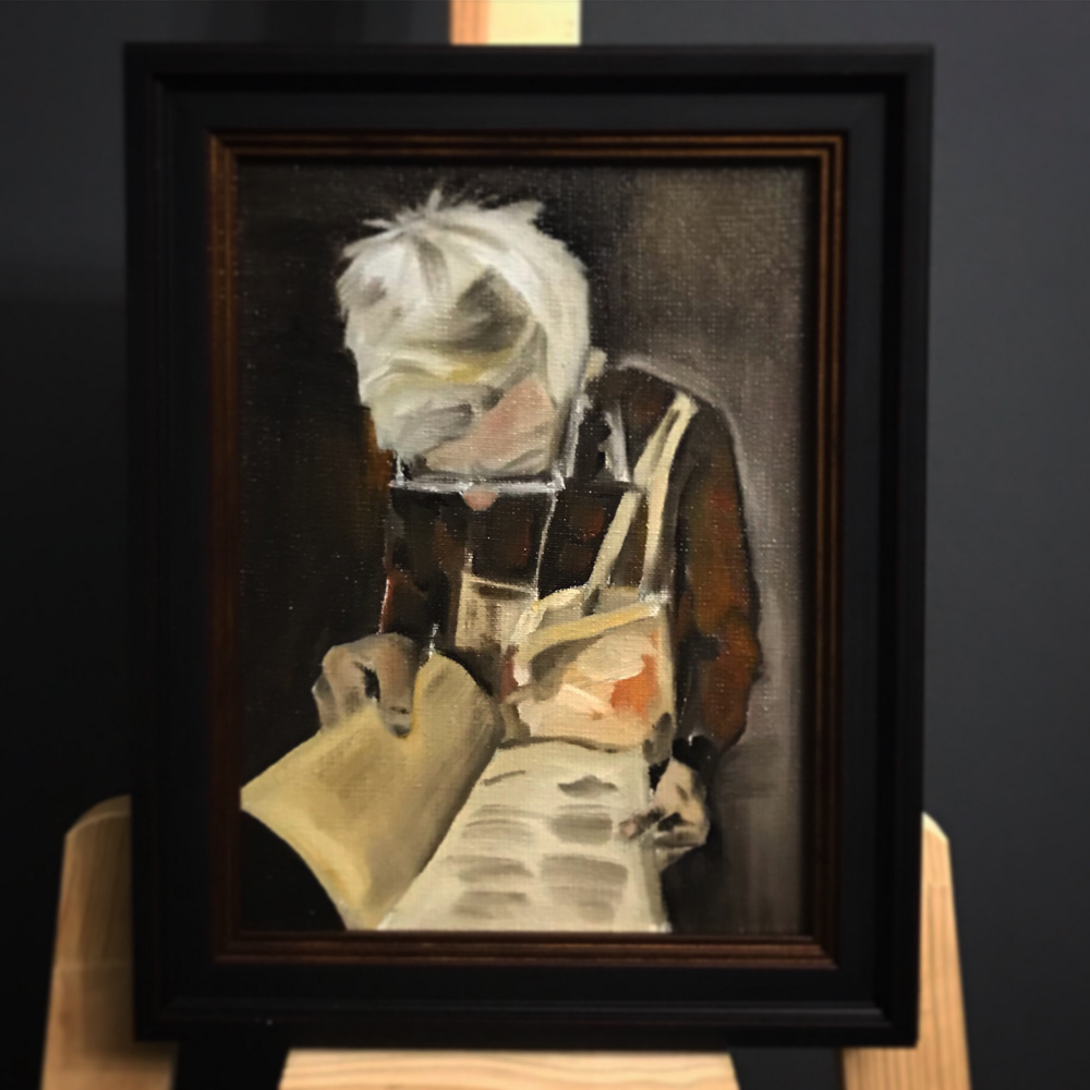 "Anna Alykshina. Miniature ""Little Big Man"" 20x30 canvas, oil; 20,000 rubles"