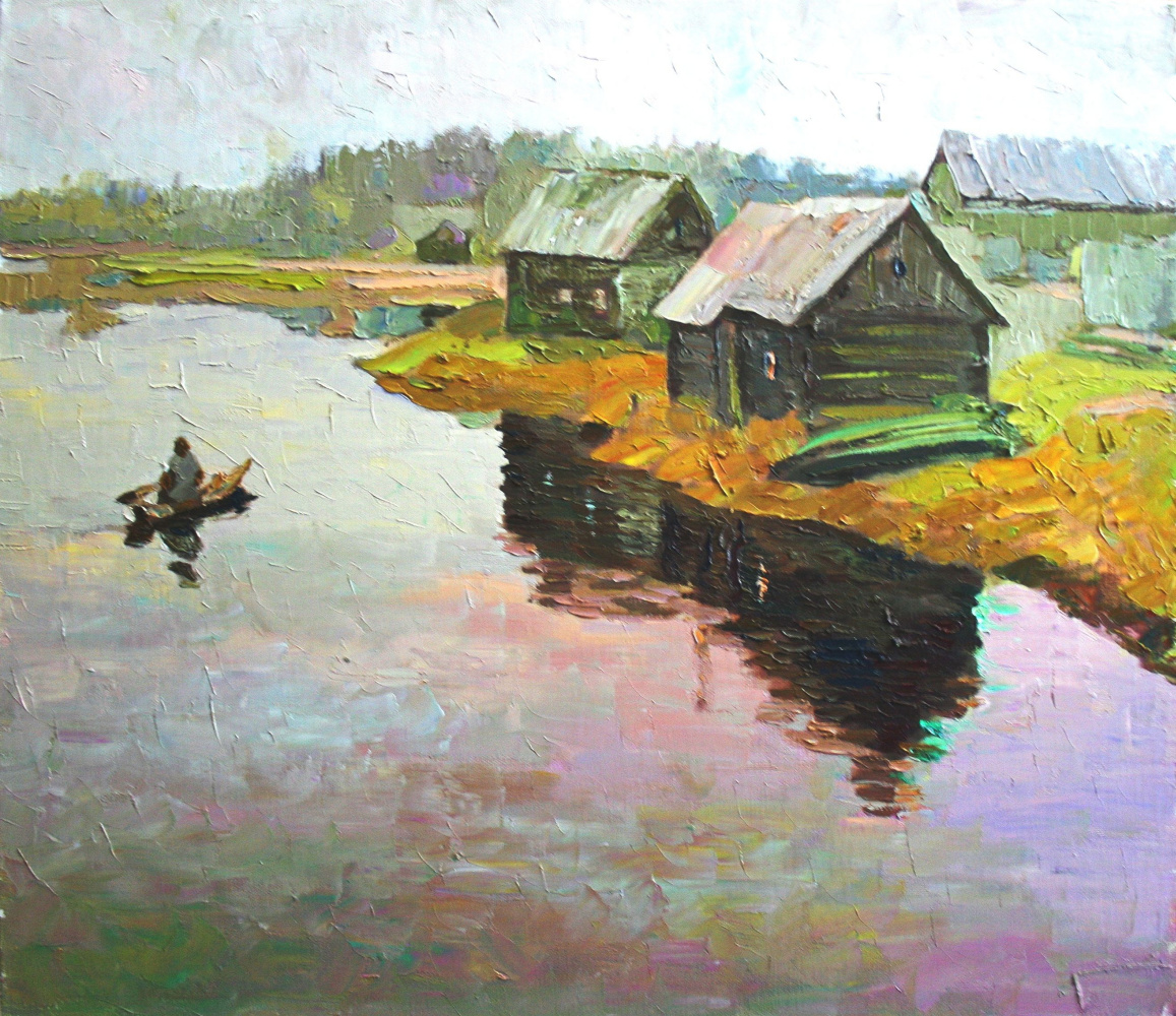 Михаил Рудник. Landscape with boat