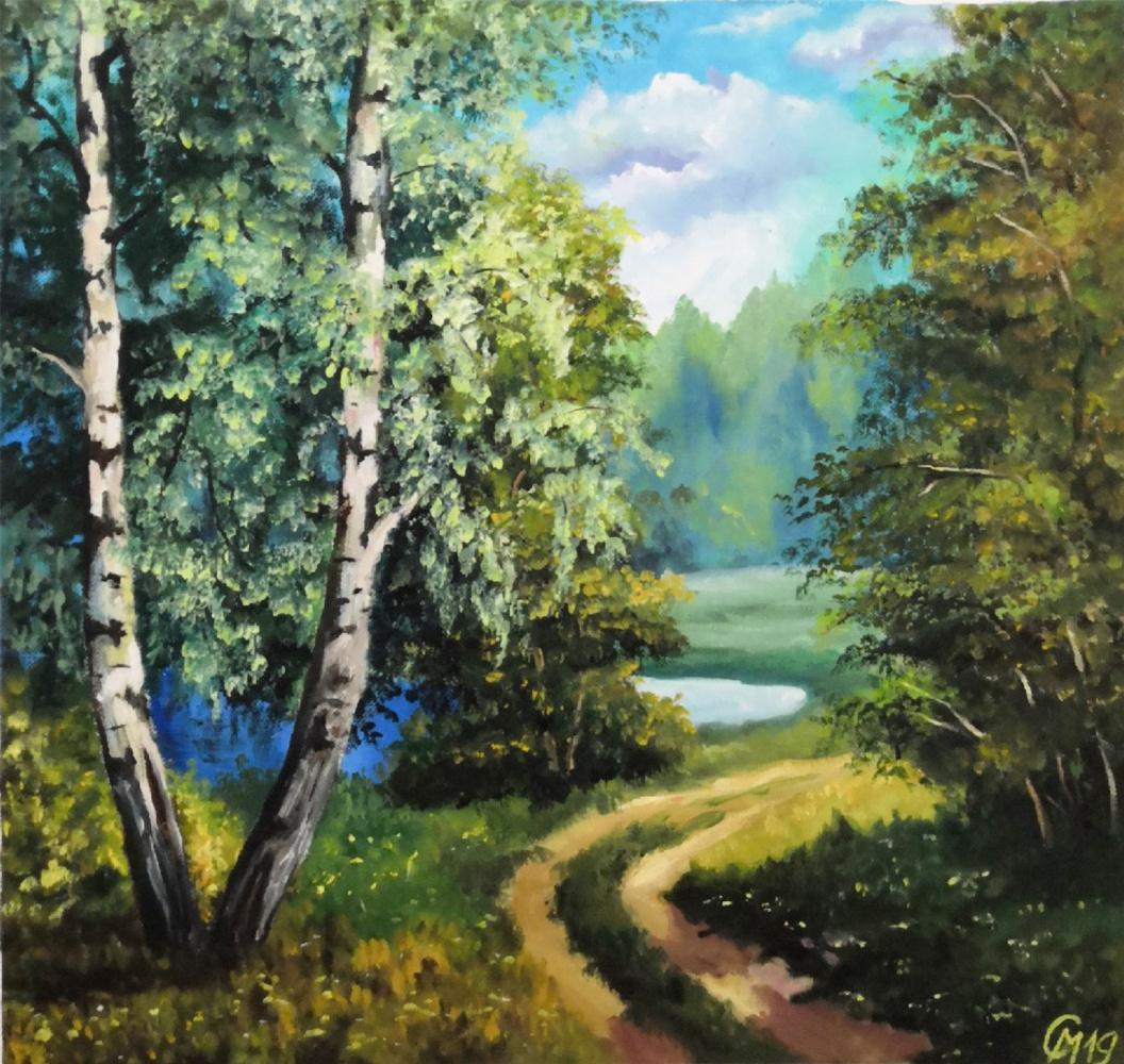 "Мария Евгеньевна Сироткина. Oil painting ""Birch grove"""