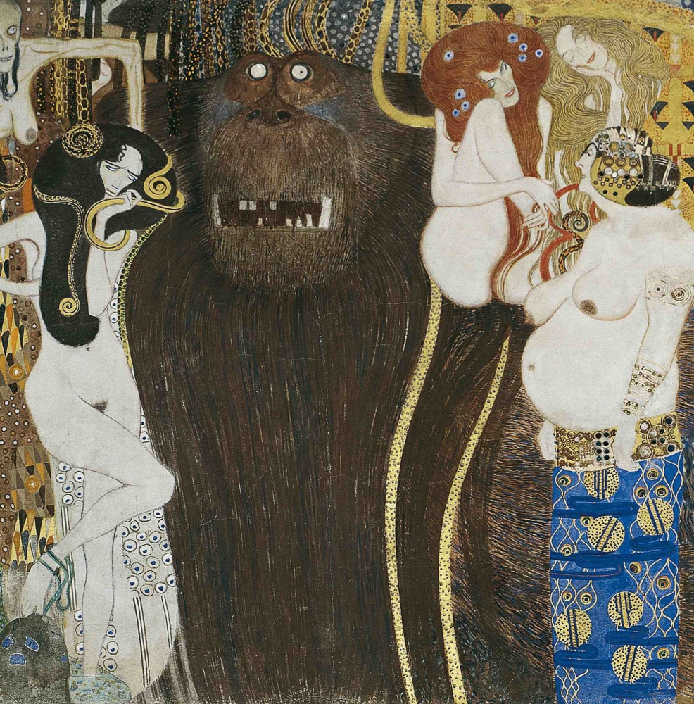 Gustav Klimt. Beethoven Frieze the Hostile forces (Detail)
