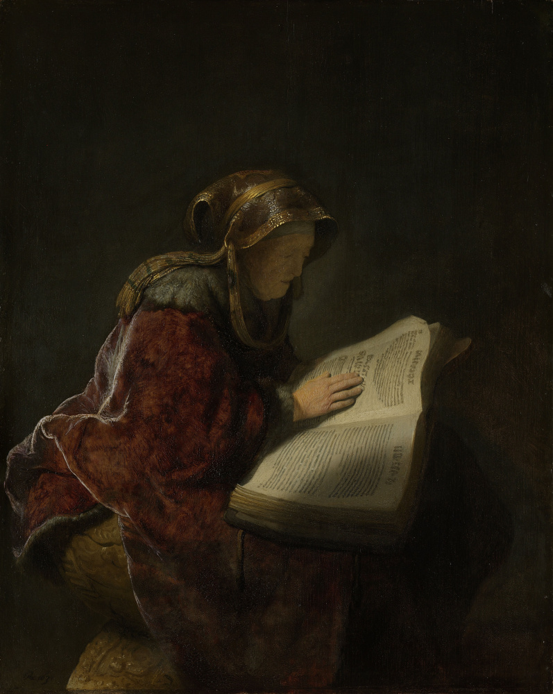 Rembrandt Harmenszoon van Rijn. Old woman reading (presumably, the prophetess Anna)