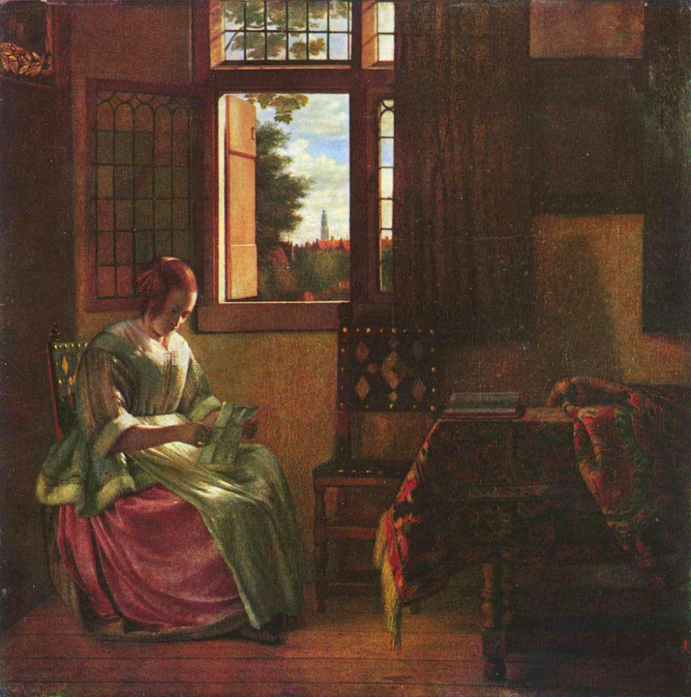Pieter de Hooch. Woman reading a letter