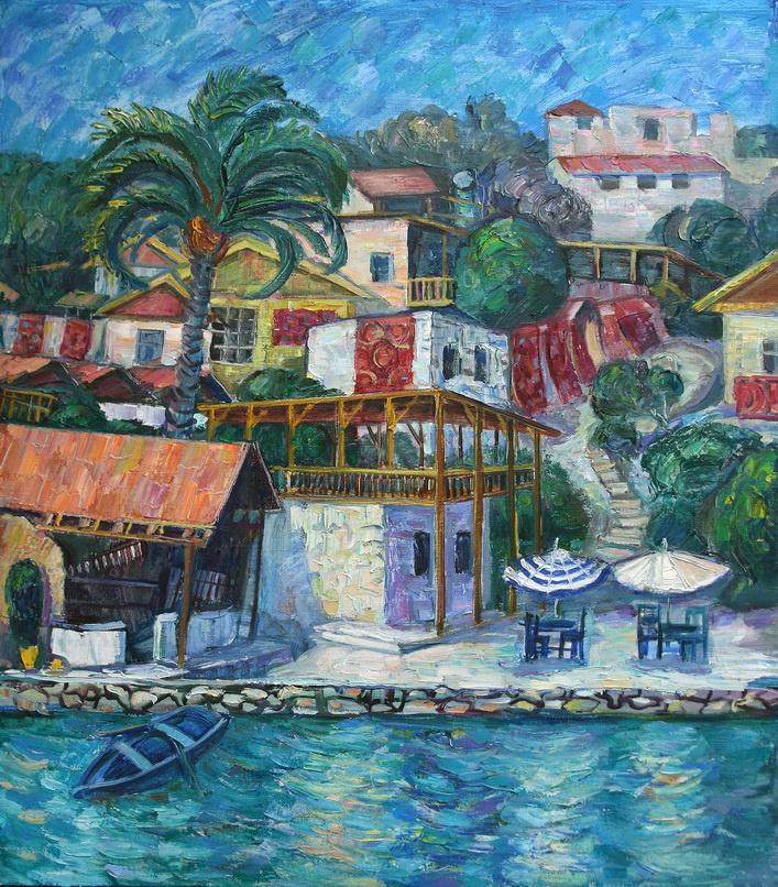 Oksana Viktorovna Zalevskaya. Blue landscape with a boat.