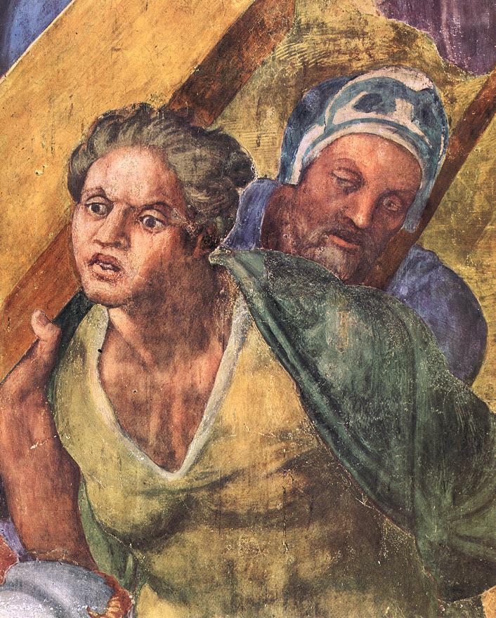 Микеланджело Буонарроти. Распятие Св. Петра. Фрагмент.