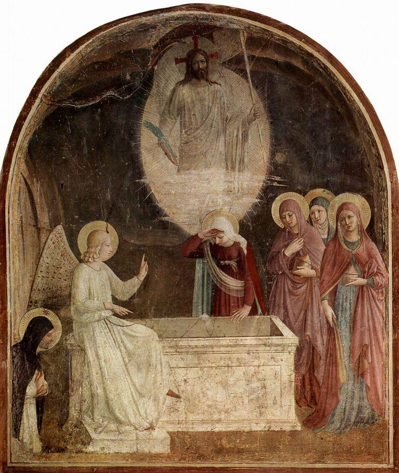 Фра Беато Анджелико. Цикл фресок доминиканского монастыря Сан Марко во Флоренции, сцена: Три Марии у гроба Господня