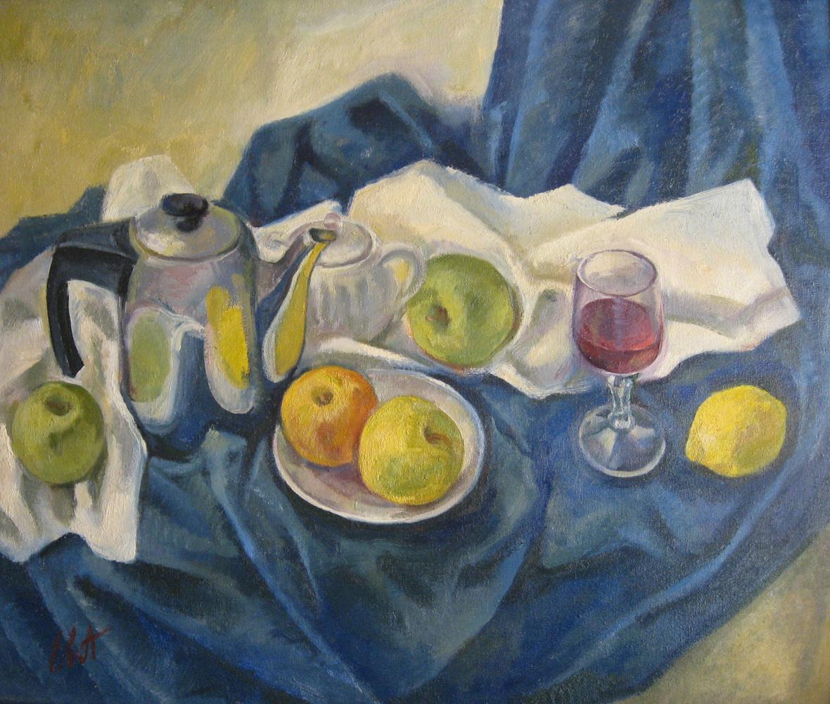 Evgenia Alexandrovna Belyakova. Blue still life with a teapot