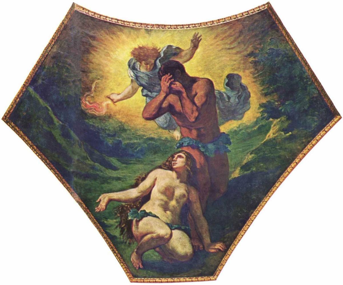 Эжен Делакруа. Бурбонский дворец, роспись паруса под куполом Теологии: Адам и Ева