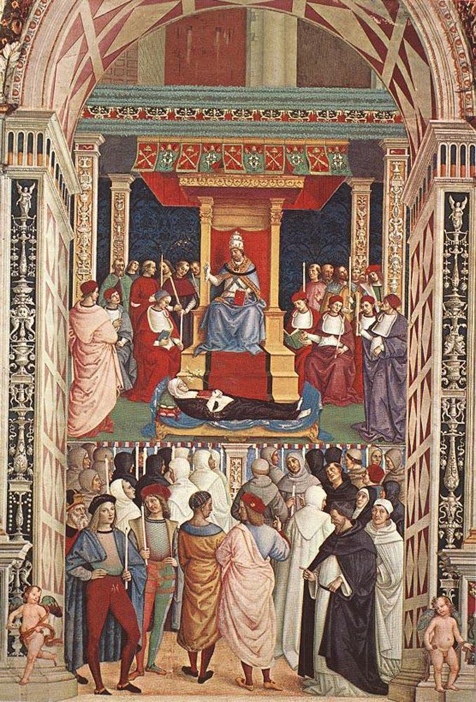 Пинтуриккио. Папа Эней Пикколомини канонизирует Екатерину Сиенскую