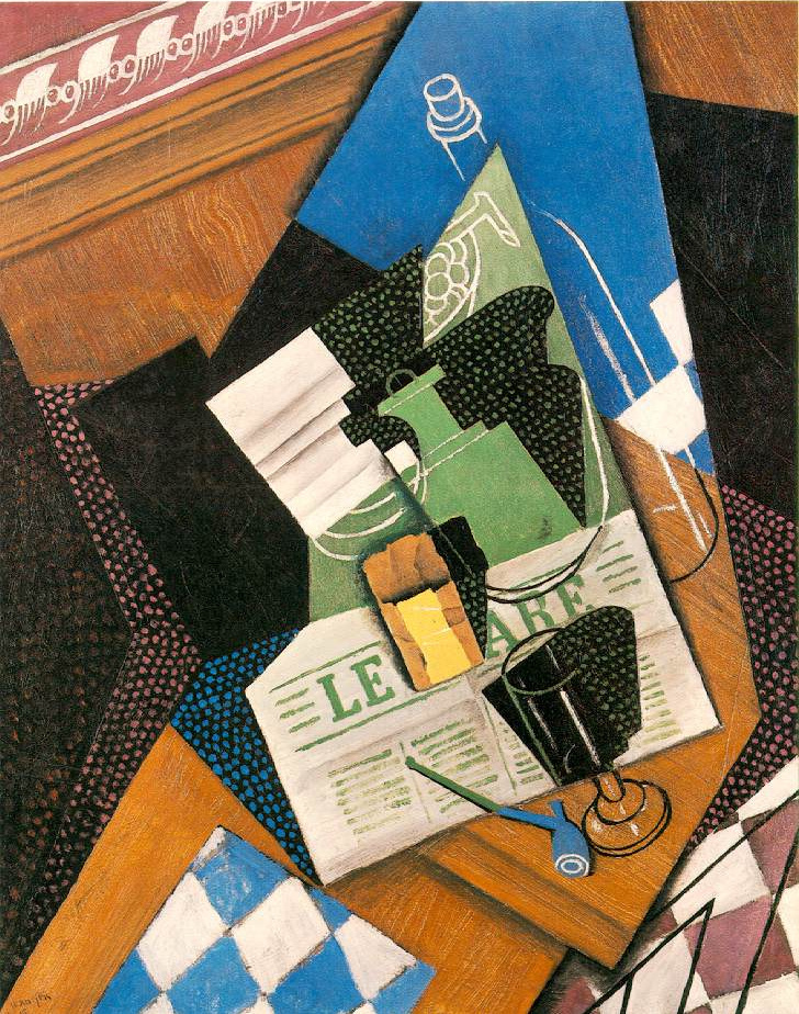 Juan Gris. Still life with bottle and newspaper