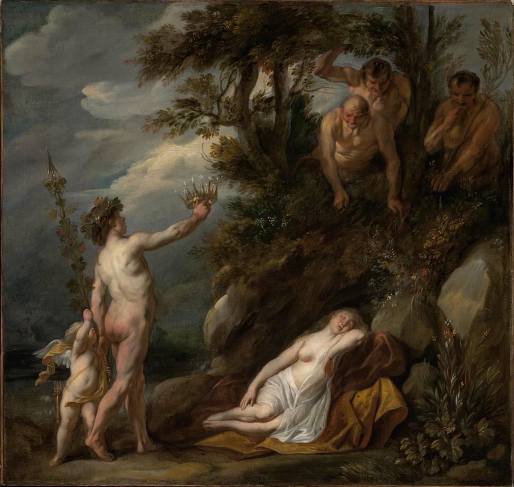 Якоб Йорданс. Bacchus who discovered sleeping Ariadne