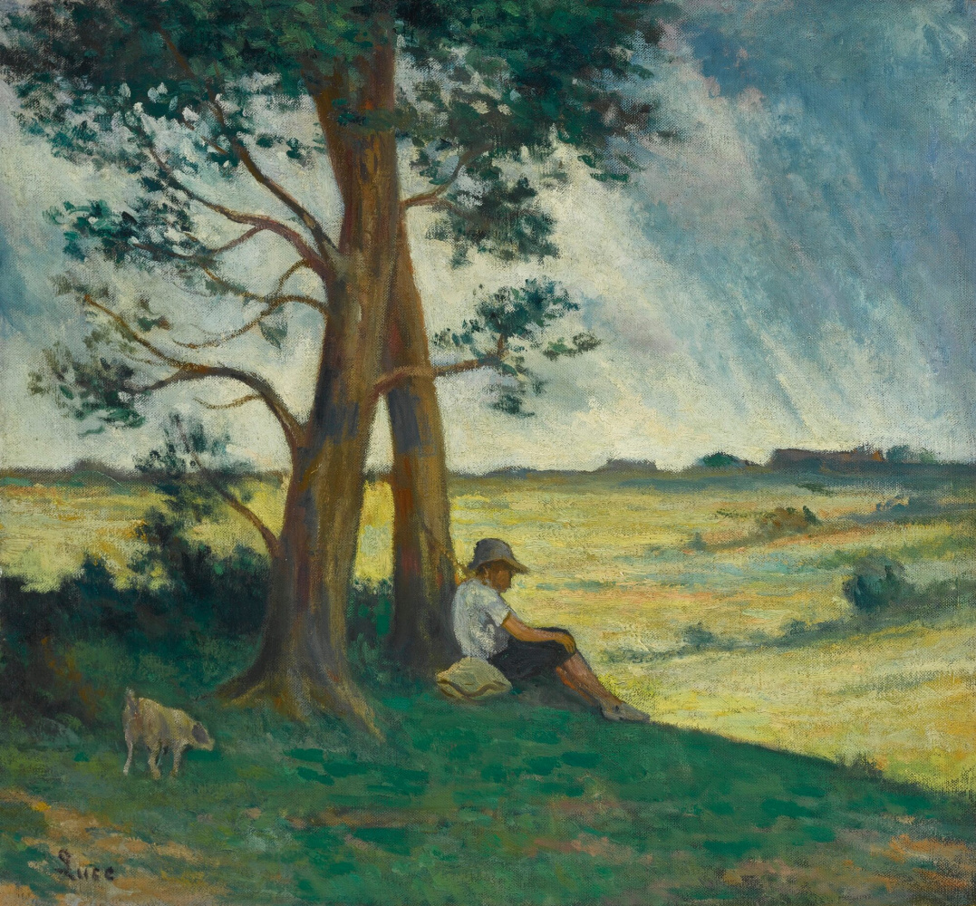 Maximilian Luce. Landscape with a boy resting under the trees
