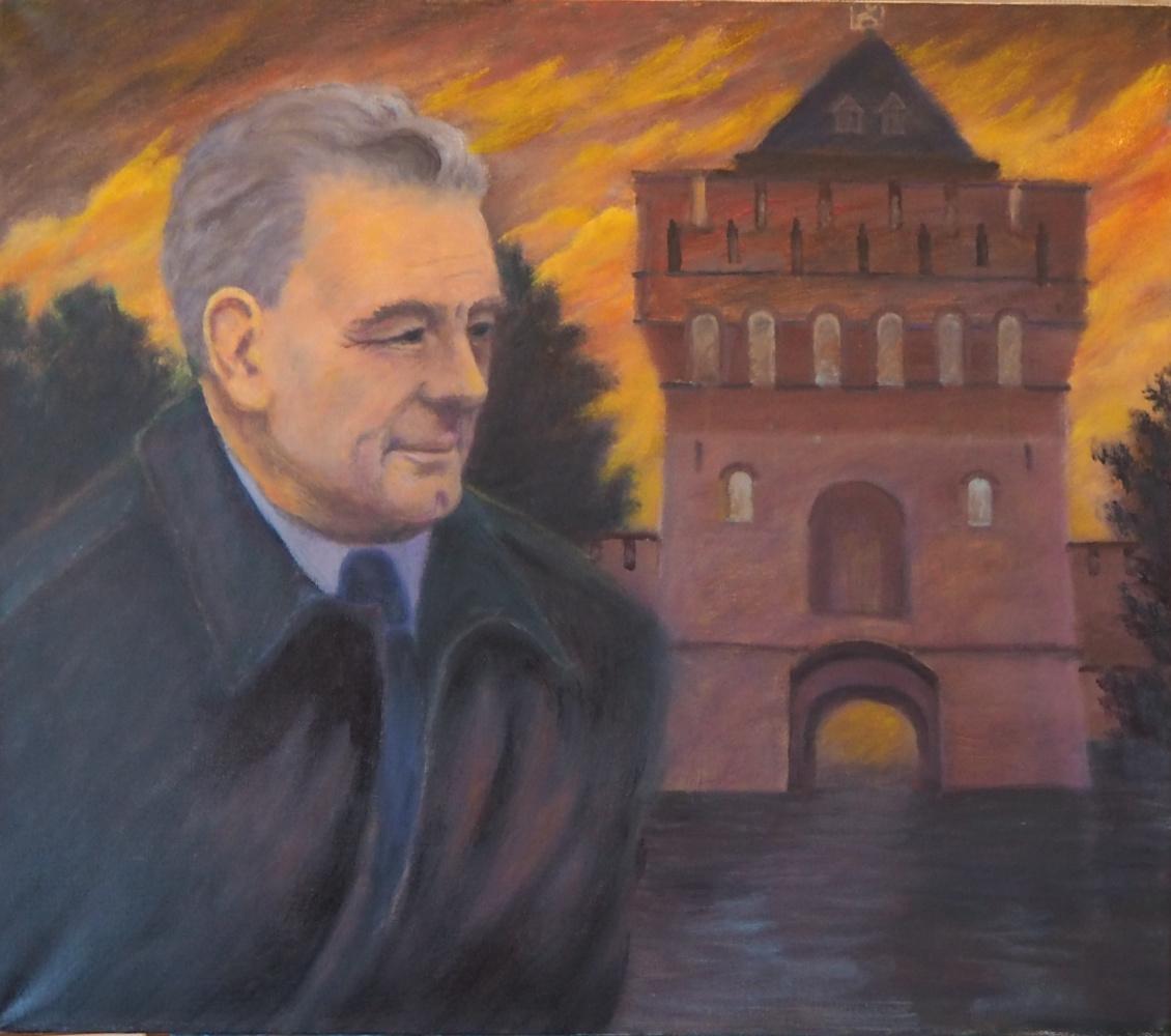 """Alexander Fedorovich Vazhnev. """"PORTRAIT OF VA KARPOCHEV."""""""