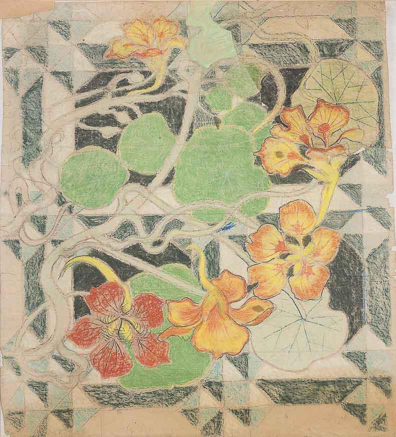 Станислав Выспяньский. Дизайн настенной росписи для Францисканской церкви (цветочный мотив - настурции)