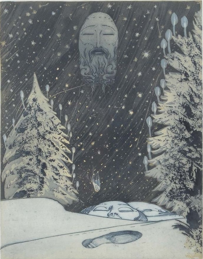 Ernst Fuchs. Winter night