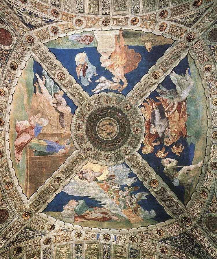 Рафаэль Санти. Станца д'Элиодоро. Роспись потолка зала дворца понтифика в Ватикане