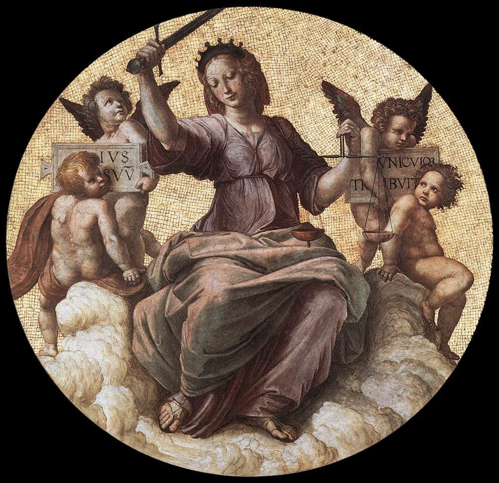 Рафаэль Санти. Станца делла Сеньятура. Роспись потолка. Фрагмент: Юстиция (Правосудие)