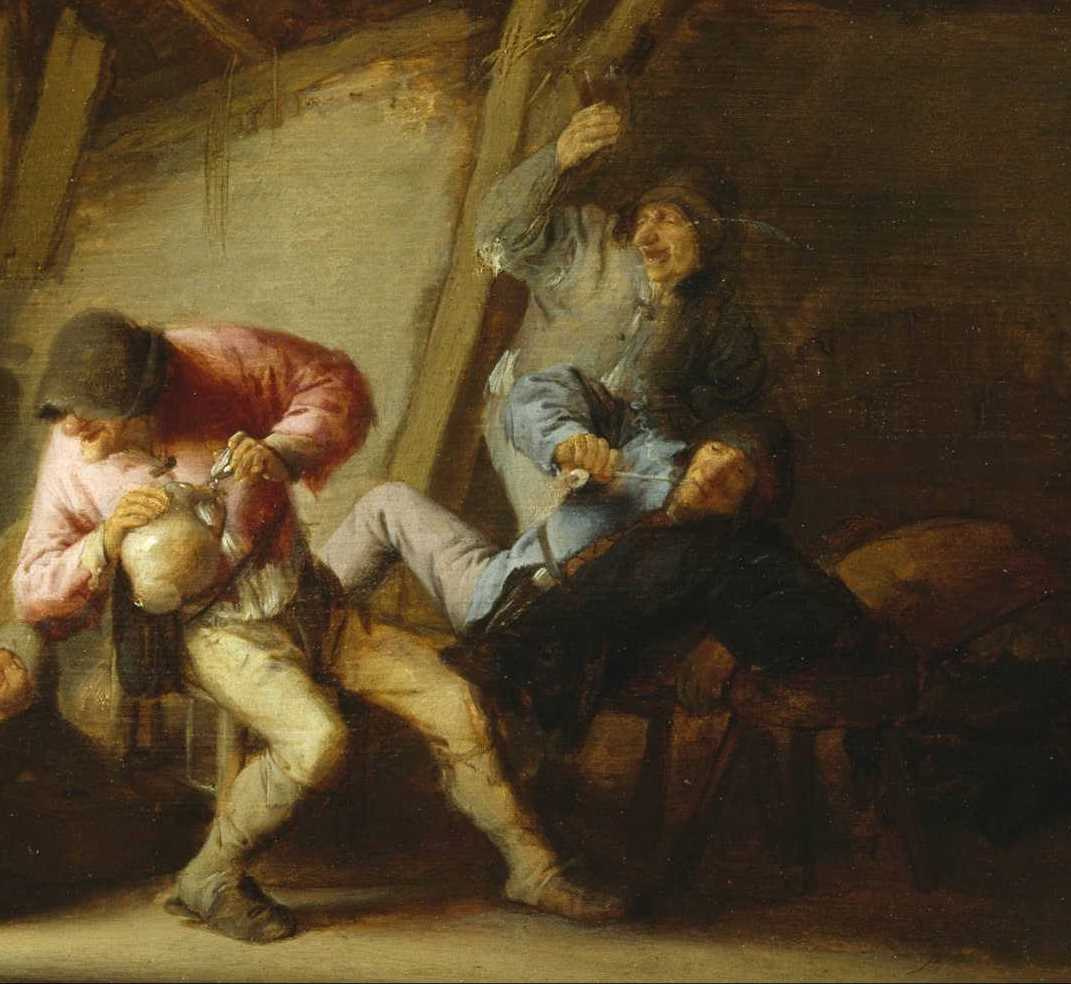 Adrian Jans van Ostade. Interior with peasants drinking and fighting children. Fragment. Drinkers