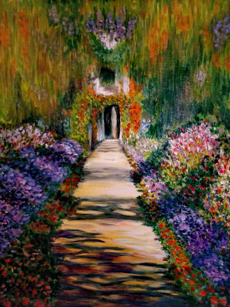 """Claude Monet (copy). """"The main path through the garden at Giverny"""""""