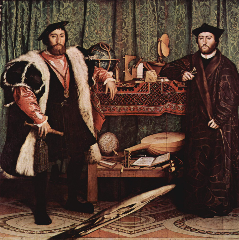 Hans Holbein The Younger. Portrait of the French ambassadors Jean de Dentville and Georges de Selva