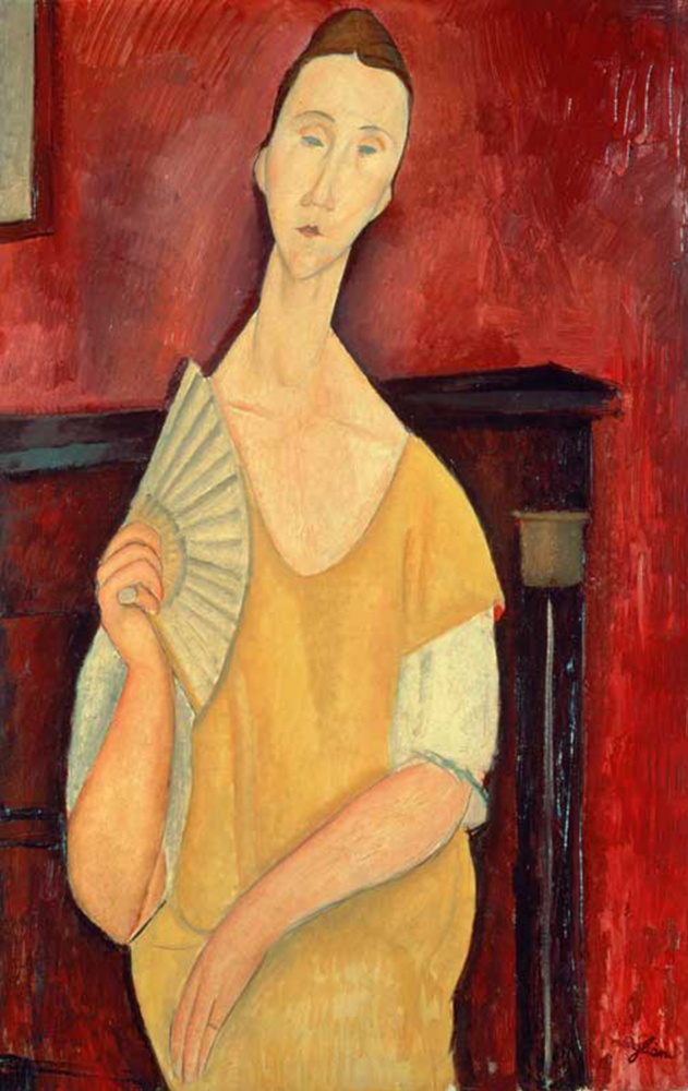 Amedeo Modigliani. Woman with a fan. Portrait Of Chekhov Lunii