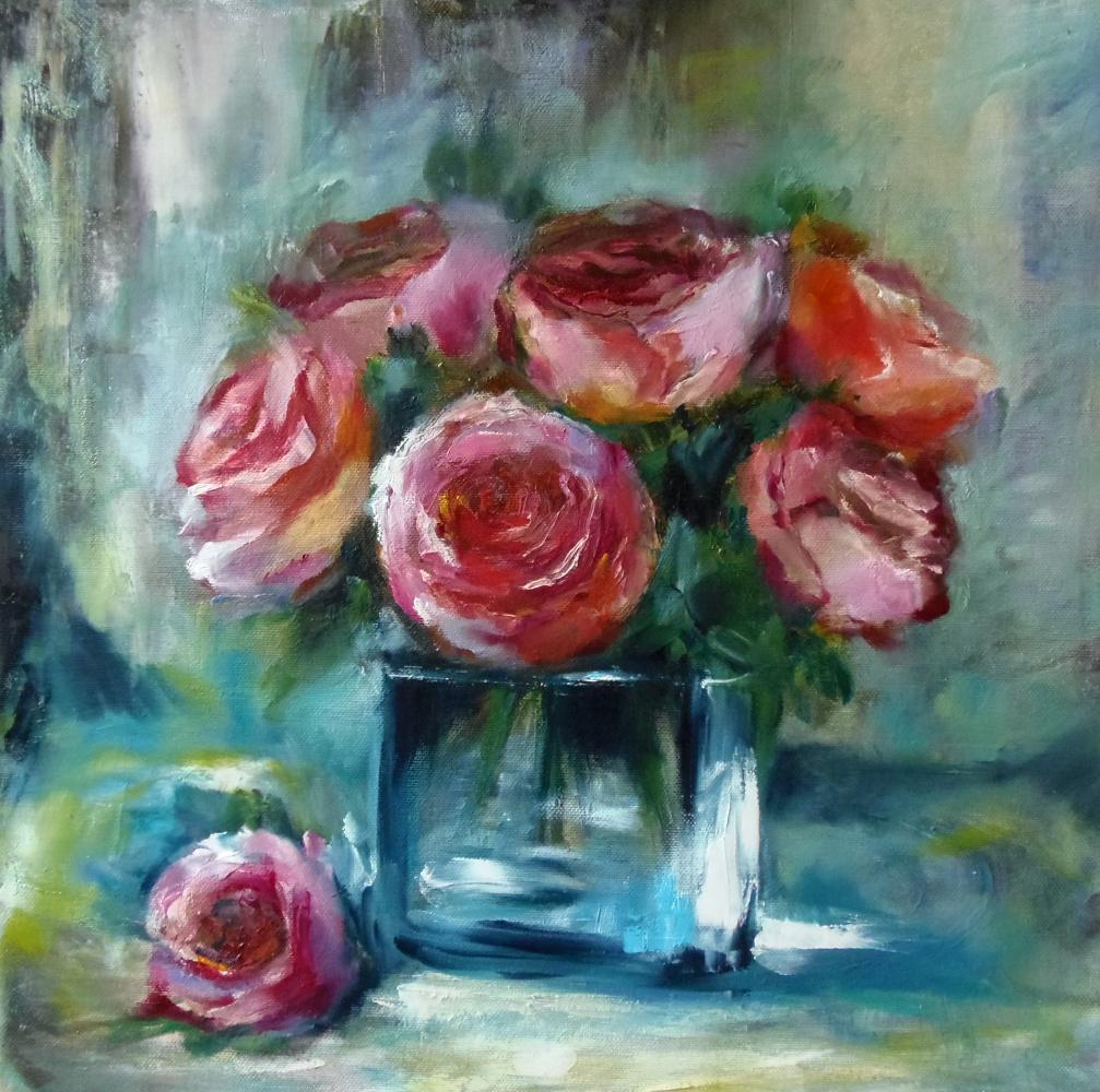 "Nata Charivna. Oil painting ""Roses"""