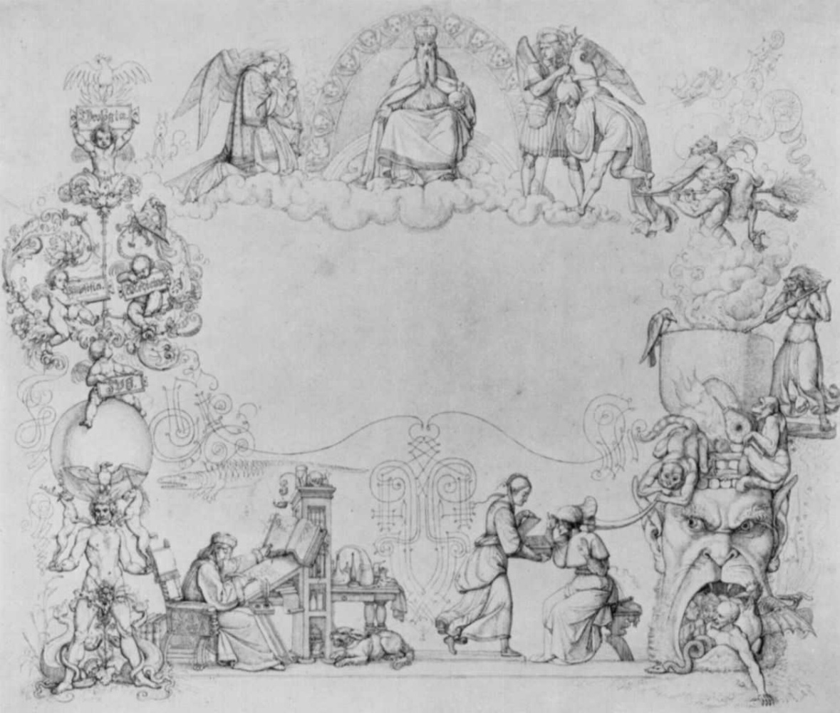 """Peter von Cornelius. A sketch of the title page of """"Faust"""" by Goethe"""