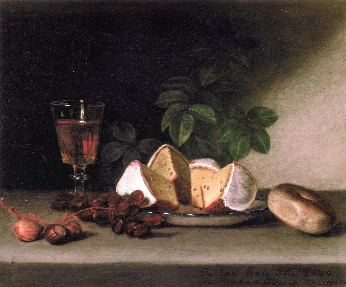 Raphaelle Peale. Still life: wine, cakes and nuts